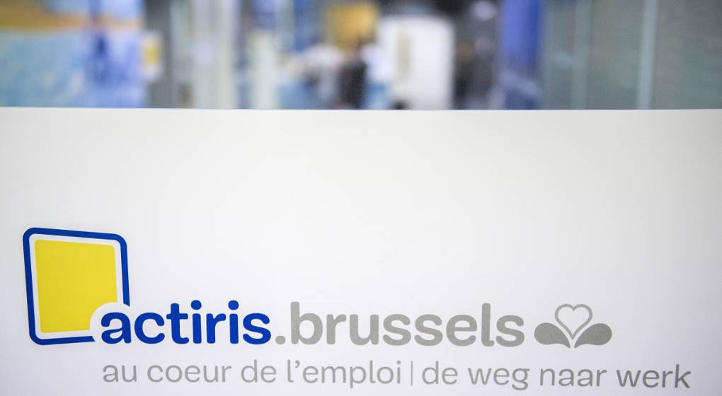 BRUSSELS, BELGIUM: This picture shows the Actiris logo in the Actiris headquarters in Brussels (04th July 2016).