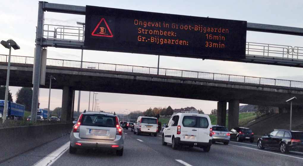 %date - %city, %country: Illustration picture shows %items a traffic jam on the Ring road in Brussels, %datetext. BELGA PHOTO %photographer