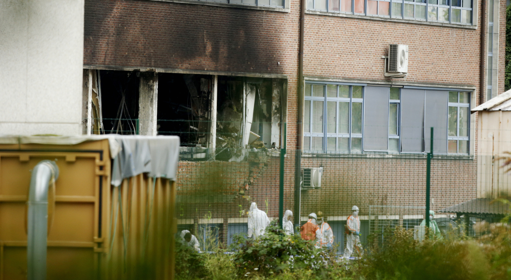 %items the National Institute for Criminalistics and Criminology (INCC-NICC) where an explosion took place at 3am this morning, on %datetext, in Neder-Over-Heembeek. A car broke through three fences and was detonated close to the institute's laboratories causing a violent fire. Nobody was injured during the incident, which has clear criminal intent according to police, but there is considerable damage. BELGA PHOTO %photographer