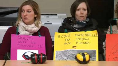 Grève à l'école maternelle Jardin aux fleurs à Bruxelles
