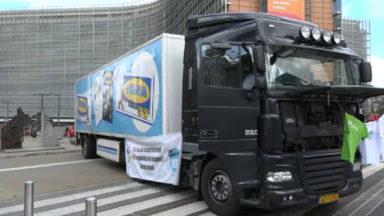Les syndicats du transport routier ont manifesté contre le dumping social