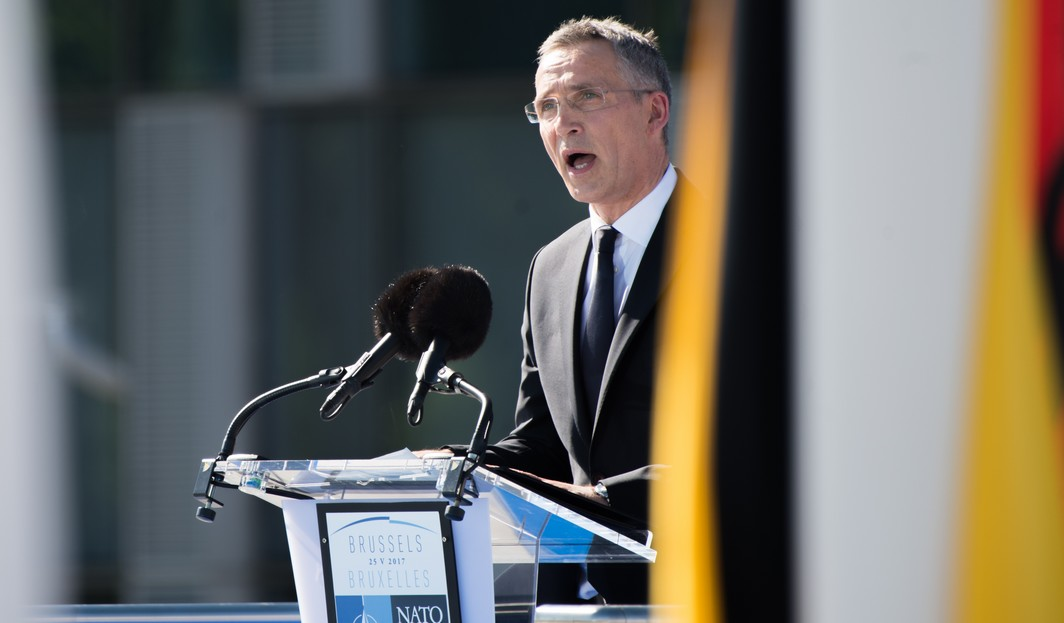 NATO Secretary General Jens Stoltenberg delivers a speech at the handover ceremony of the new headquarters of NATO, North Atlantic Treaty Organization, in Evere, Brussels, Thursday 25 May 2017.  BELGA PHOTO POOL MELANIE WENGER