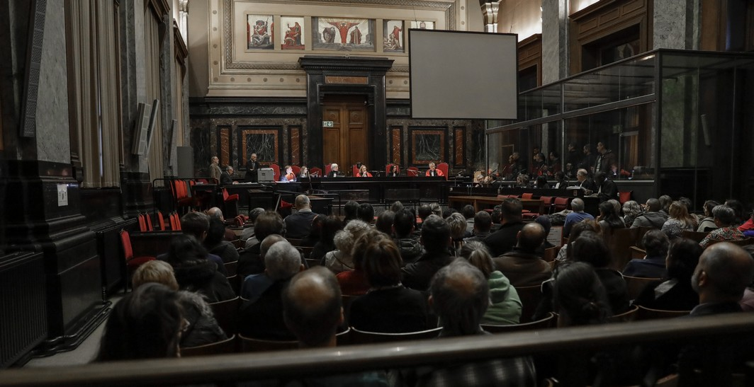 Illustration picture shows the jury composition before the start of the assize trial of David Dupuis, Stephan Picron and Mousa Touili before the assize court of Brussels Capital for the murder of Robert Dupuis (58) on June 10th 2011 in Etterbeek, on Monday 06 March 2017, in Brussels. David Dupuis, son of the victim is accused of ordering his father's murder. BELGA PHOTO THIERRY ROGE