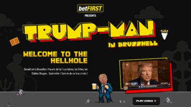 La visite de Trump inspire un jeu vidéo : «Trump-Man» doit sortir du «trou à rats» de Bruxelles