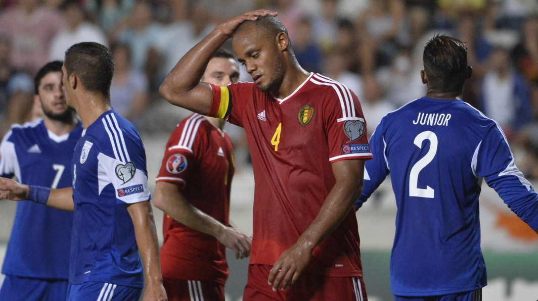 20150906 - NICOSIA, CYPRUS: Belgium's captain Vincent Kompany reacts during a soccer game between the Cyprus national team and the Belgian Red Devils, Sunday 06 September 2015, in Nicosia, Cyprus, a Euro 2016 qualification game in Group B. BELGA PHOTO DIRK WAEM
