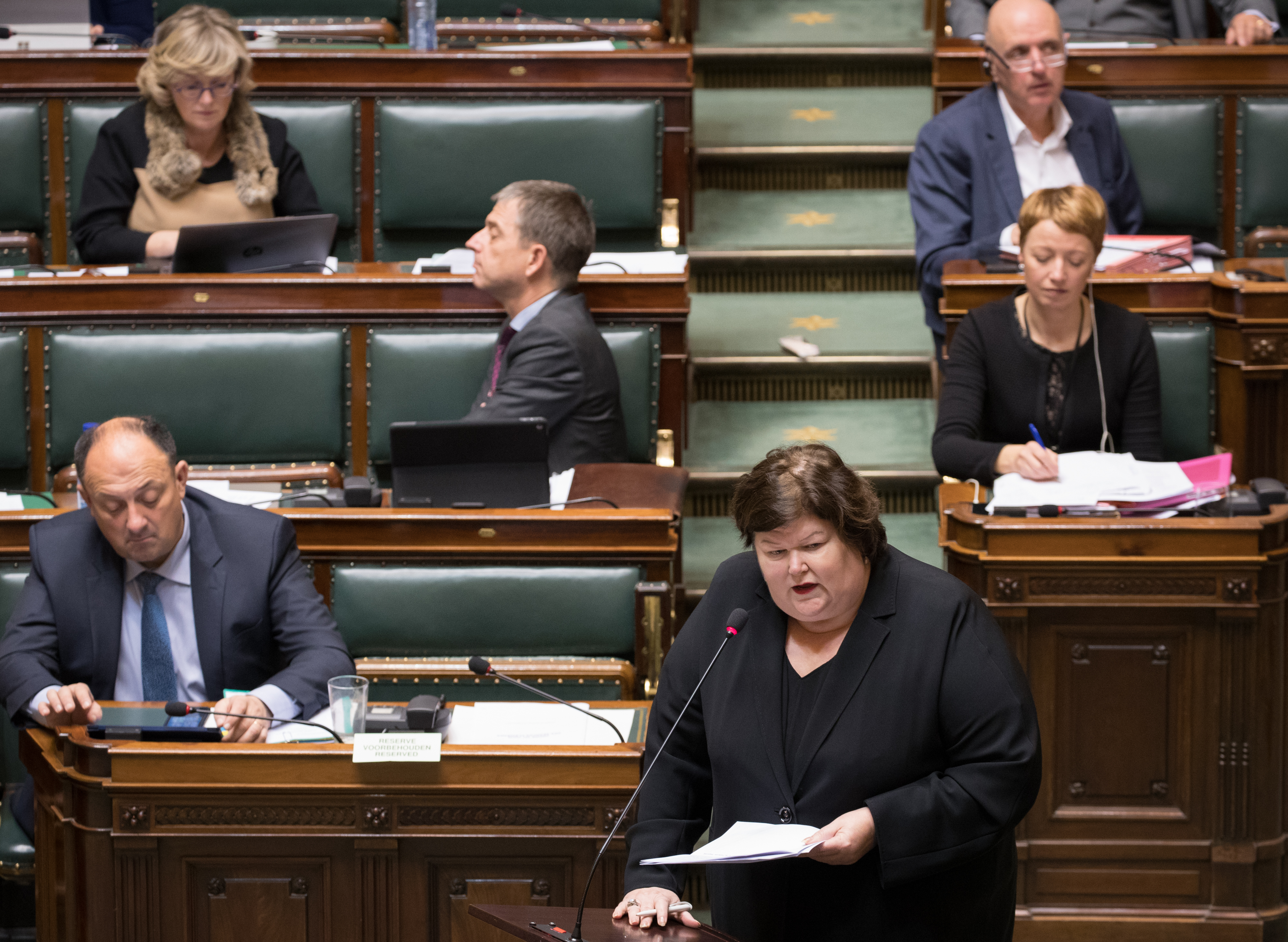 Minister of Health and Social Affairs Maggie De Block delivers a speech at a plenary session of the Chamber at the federal parliament, in Brussels, Thursday 02 February 2017. BELGA PHOTO BENOIT DOPPAGNE