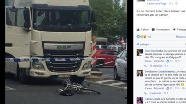 Accident place Meiser : une cycliste grièvement blessée