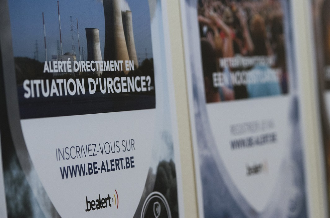 Illustration picture shows a press conference to present 'BE-ALERT', an alarm system serving the Belgian people and authorities which is currently operating 24/24 hours and 7/7 days for the whole country, Tuesday 13 June 2017, in Waterloo. BELGA PHOTO LAURIE DIEFFEMBACQ
