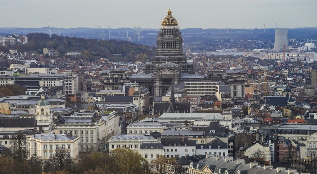 Illustration picture shows an aerial view on Brussels, with the Justitiepaleis - Palais de Justice - Palace of Justice, Monday 21 November 2016. BELGA PHOTO THIERRY ROGE