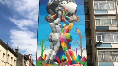 Nouvelle fresque murale près de la gare du Nord à Saint-Josse