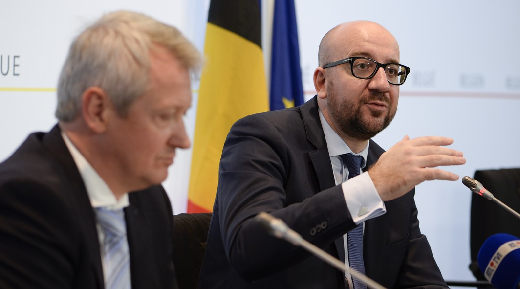 20151026 - BRUSSELS, BELGIUM: Miguel De Bruycker, Director CCB and Belgian Prime Minister Charles Michel pictured during the presentation of the center for cyber security in Belgium (CCB) in Brussels, Monday 26 October 2015. BELGA PHOTO DIRK WAEM