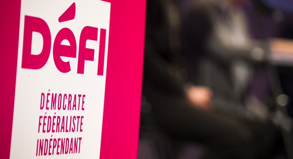 20160117 - BRUSSELS, BELGIUM: Illustration picture shows the logo of DeFI at the new year reception of French speaking party DeFI (former FDF), in Brussels, Sunday 17 January 2016. BELGA PHOTO LAURIE DIEFFEMBACQ