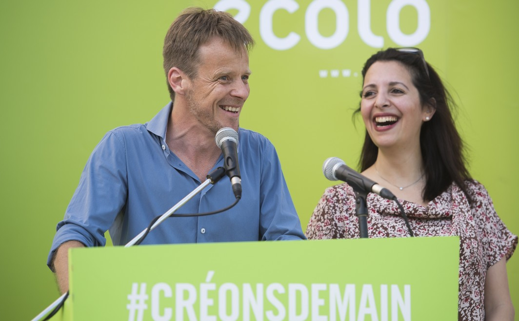 Ecolo chairman Patrick Dupriez and Ecolo co-chairwoman Zakia Khattabi speech at a summer meeting for the September rentree of Ecolo French-speaking green political party, in Massembre domain in Heer, Saturday 27 August 2016. BELGA PHOTO ANTHONY DEHEZ