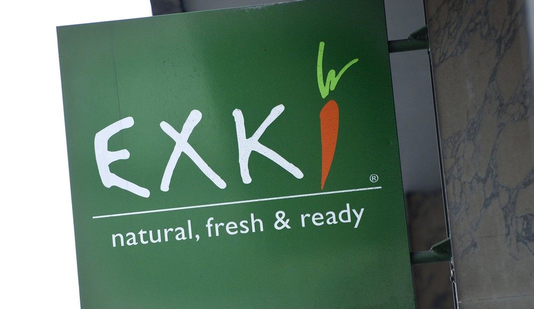Illustration picture of a Exki fest food restaurant signboard. Exki is a belgian-based high quality restaurant chain offering natural, fresh products at all the times of the day.