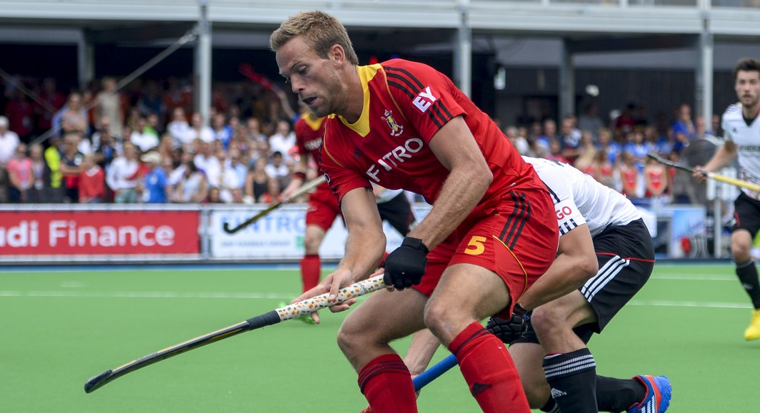 20130825 - BOOM, BELGIUM: Belgium's Jerome Dekeyser pictured during the men's hockey game between the Belgium Red Lions and Germany, the final of the European Hockey Championships 2013, Sunday 25 August 2013, at the Braxgata hockey club in Boom. BELGA PHOTO DIRK WAEM