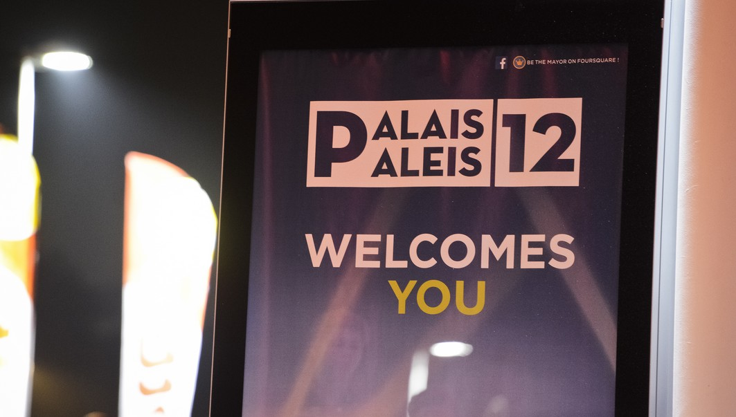 20131019 - BRUSSELS, BELGIUM: Illustration shows a 'Palais / Paleis 12' poster in the new concert hall Paleis 12 - Palais 12 at Brussels Expo ahead of the World Tour 2013 concert of French DJ David Guetta, Saturday 19 October 2013. BELGA PHOTO LAURIE DIEFFEMBACQ
