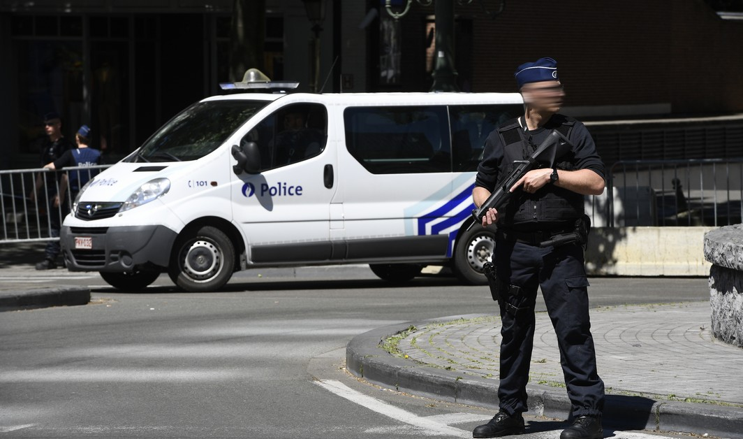 Illustration picture shows a police as part of the many special security measures with the presence of President of The United States of America in Brussels, Thursday 25 May 2017. President Trump is on a two day visit to Belgium, to attend a NATO (North Atlantic Treaty Organization) summit on Thursday. BELGA PHOTO YORICK JANSENS
