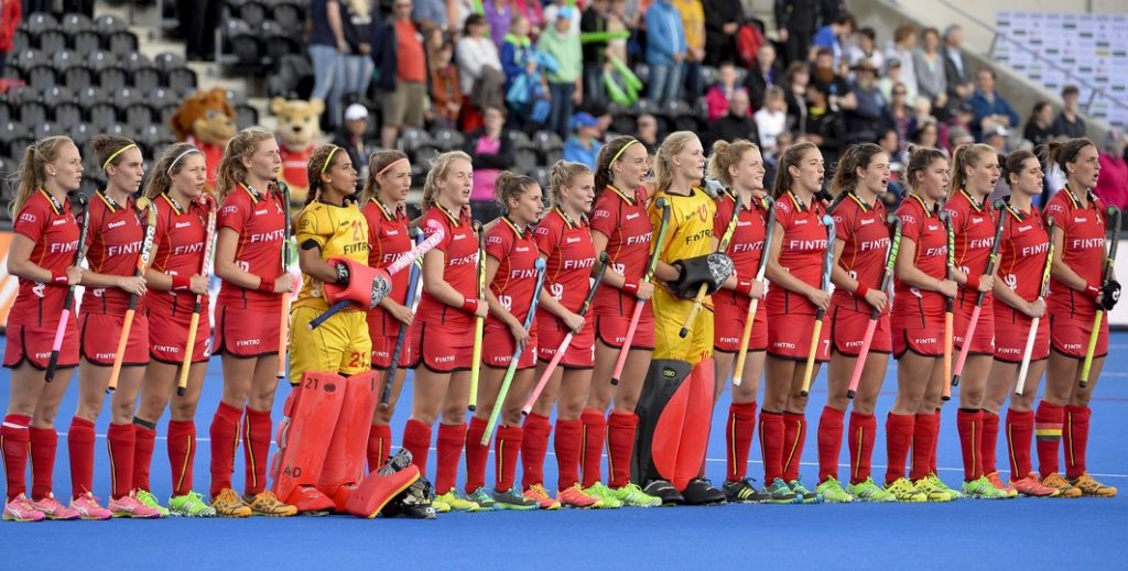20150826 - LONDON, UNITED KINGDOM: Belgium's players are lined up for the national anthem at the start of a hockey game between Belgium's Red Panthers and The Netherlands at the women's EuroHockey Championships 2015 during the Group stage of group A, Wednesday 26 August 2015, in London, United Kingdom. BELGA PHOTO DIRK WAEM