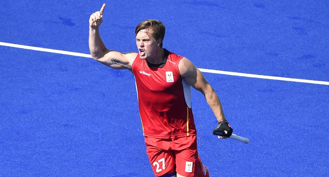 Belgian hockey player Tom Boon celebrates during the game between Belgium Red Lions and India, a quarter final game in the men's field hockey competition at 2016 Olympic Games, Sunday 14 August 2016, in Rio de Janeiro, Brazil.  BELGA PHOTO ERIC LALMAND