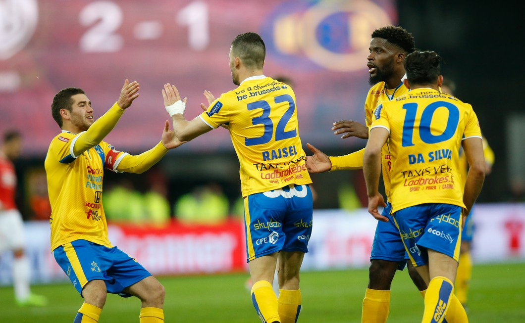 Union's Nicolas Rajsel celebrates after scoring during the Jupiler Pro League match between Standard de Liege and Union Saint-Gilloise, in Liege, Friday 28 April 2017, on day 6 of the Play-off 2A of the Belgian soccer championship. BELGA PHOTO BRUNO FAHY