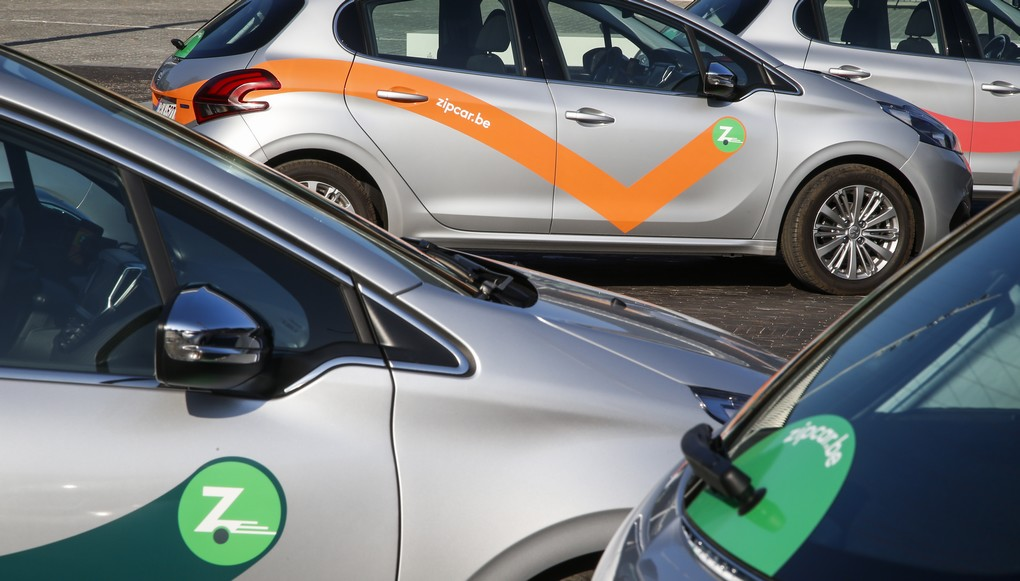 The logo of zipcar pictured at the launch of Zipcar, a car sharing in free-floating in Brussels, Wednesday 14 September 2016. BELGA PHOTO THIERRY ROGE
