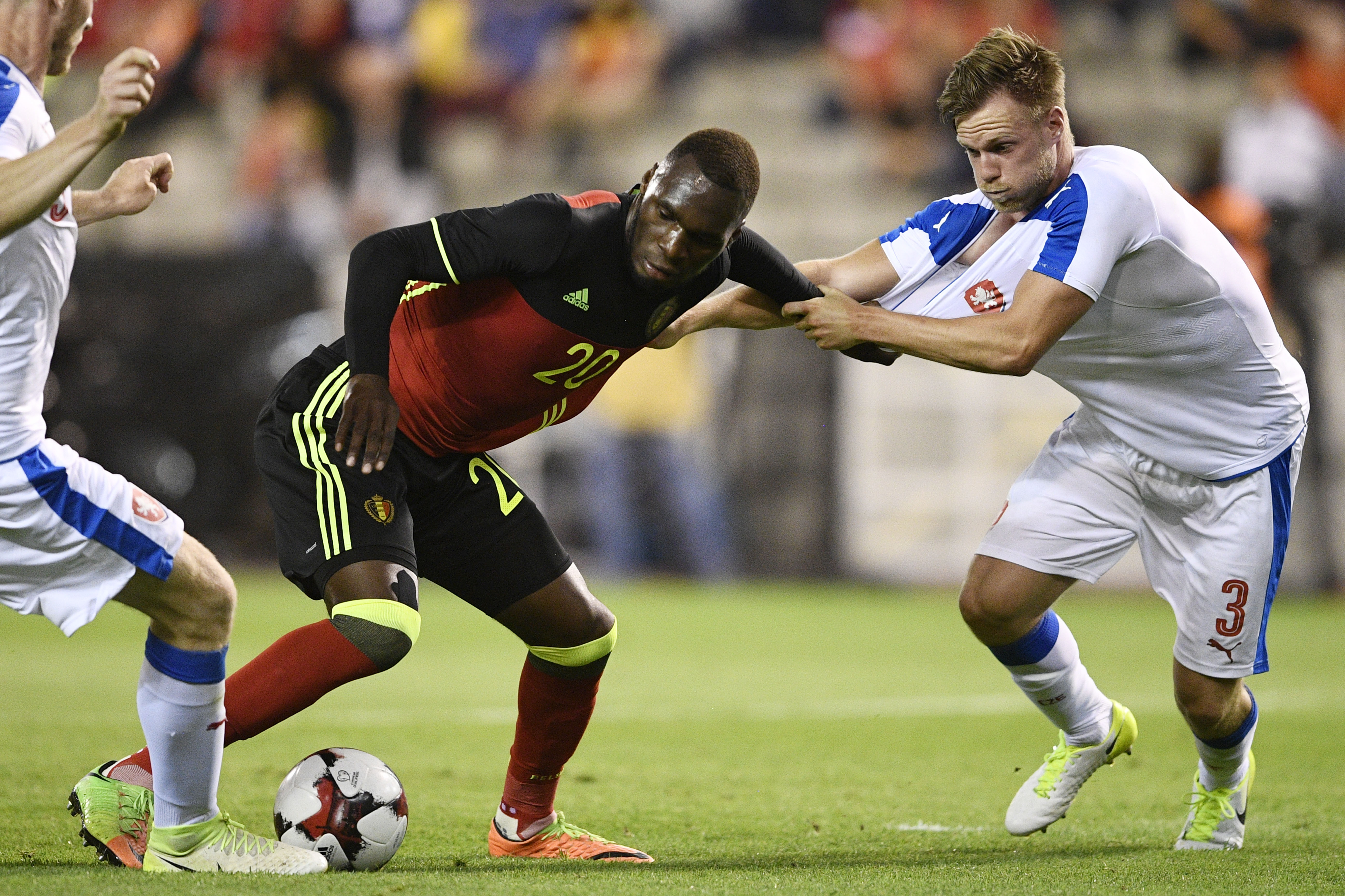 Belgium's Christian Benteke and Czech Tomas Kalas fight for the ball during a friendly game between Belgian national soccer team Red Devils and Czech Republic, Monday 05 June 2017, in Brussels. BELGA PHOTO YORICK JANSENS