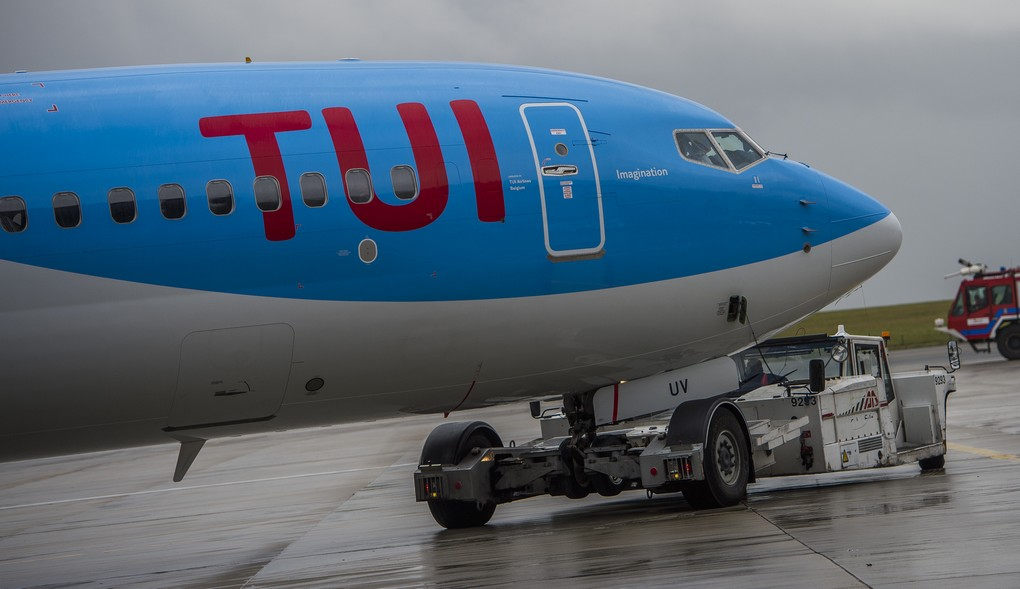 Illustration picture shows the first flight of Tui plane,the TB1111 from Brussels to Spanish city Malaga, Wednesday 19 October 2016, in Zaventem airport. Tui is the new name and visual of Jetair company. BELGA PHOTO LAURIE DIEFFEMBACQ