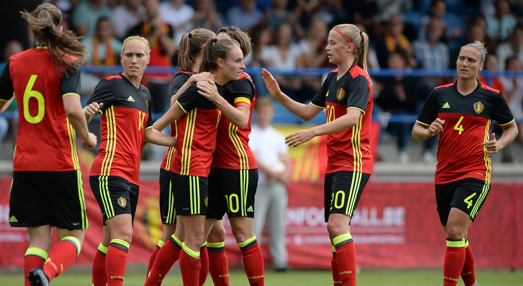 Belgium's Tessa Wullaert celebrates after scoring during a friendly game between the Belgian national women's soccer team Red Flames and Russia, on Tuesday 11 July 2017 in Denderleeuw. The Red Flames are preparing for the Women's European Championship 2017 in the Netherlands. BELGA PHOTO DAVID CATRY