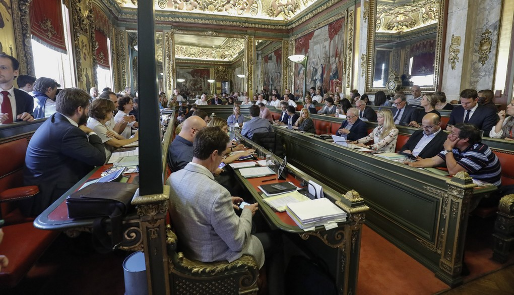 Illustration picture shows a meeting of the city council of Brussels, in Brussels city hall, Monday 26 June 2017. The first point on the council agenda is the officiating of the dismissal of Mayeur as Brussels city mayor. BELGA PHOTO THIERRY ROGE