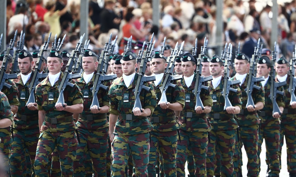 Illustration picture shows military soldiers during the military parade on the Belgian National Day, in Brussels, Friday 21 July 2017. BELGA PHOTO KURT DESPLENTER