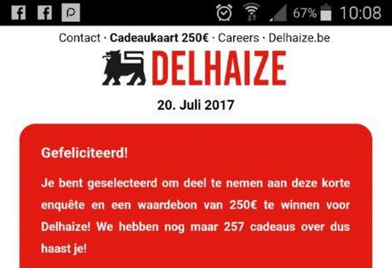 Delhaize - Phishing - WhatsApp