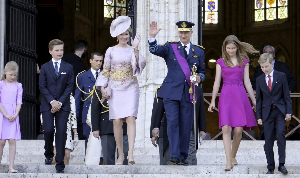 Princess Eleonore, Prince Gabriel, Queen Mathilde of Belgium, King Philippe - Filip of Belgium, Crown Princess Elisabeth and Prince Emmanuel pictured during the Te Deum mass, on the occasion of Today's Belgian National Day, at the Saint Michael and St Gudula Cathedral (Cathedrale des Saints Michel et Gudule / Sint-Michiels- en Sint-Goedele kathedraal) in Brussels, Friday 21 July 2017. BELGA PHOTO NICOLAS MAETERLINCK