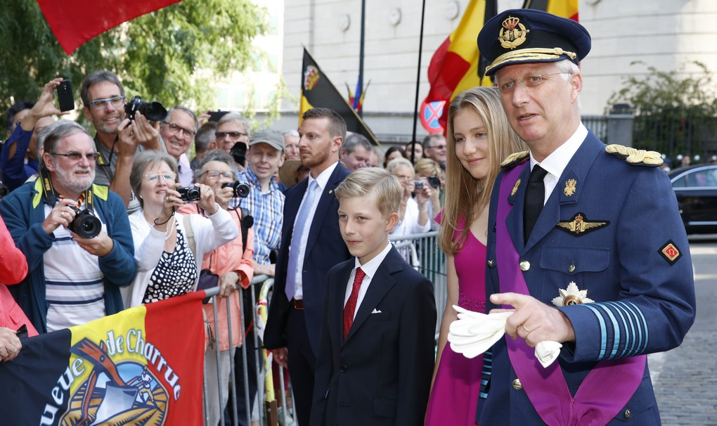 Prince Emmanuel, Crown Princess Elisabeth and King Philippe - Filip of Belgium arrive for the Te Deum mass, on the occasion of Today's Belgian National Day, at the Saint Michael and St Gudula Cathedral (Cathedrale des Saints Michel et Gudule / Sint-Michiels- en Sint-Goedele kathedraal) in Brussels, Friday 21 July 2017. BELGA PHOTO NICOLAS MAETERLINCK