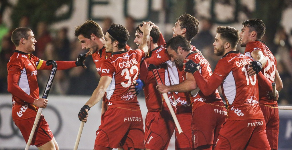 Red Lions' players celebrate after scoring during a friendly game between Belgian Red Lions and Argentina, in Uccle sport, Wednesday 26 October 2016, in Brussels. The game is a remake of Rio olympic final, won by Argentina. 9200 seats where sold for the game, a reccord for hockey in Belgium. BELGA PHOTO THIERRY ROGE