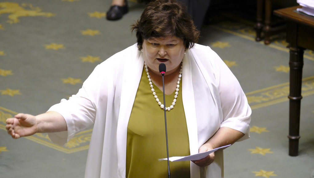 Minister of Health and Social Affairs Maggie De Block pictured during a plenary session of the Chamber at the Federal Parliament in Brussels, Thursday 06 July 2017. BELGA PHOTO NICOLAS MAETERLINCK