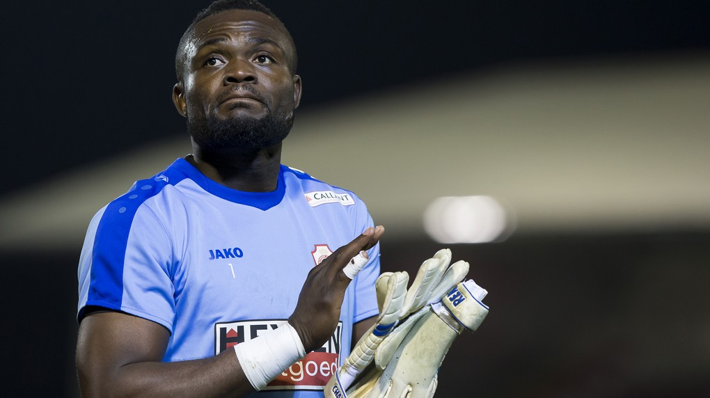 Antwerp's goalkeeper Nicaise Kudimbana pictured after the Proximus League match of D1B between Royal Antwerp FC and Tubize, in Antwerp, Sunday 11 December 2016, on day 19 of the Belgian soccer championship, division 1B. BELGA PHOTO KRISTOF VAN ACCOM
