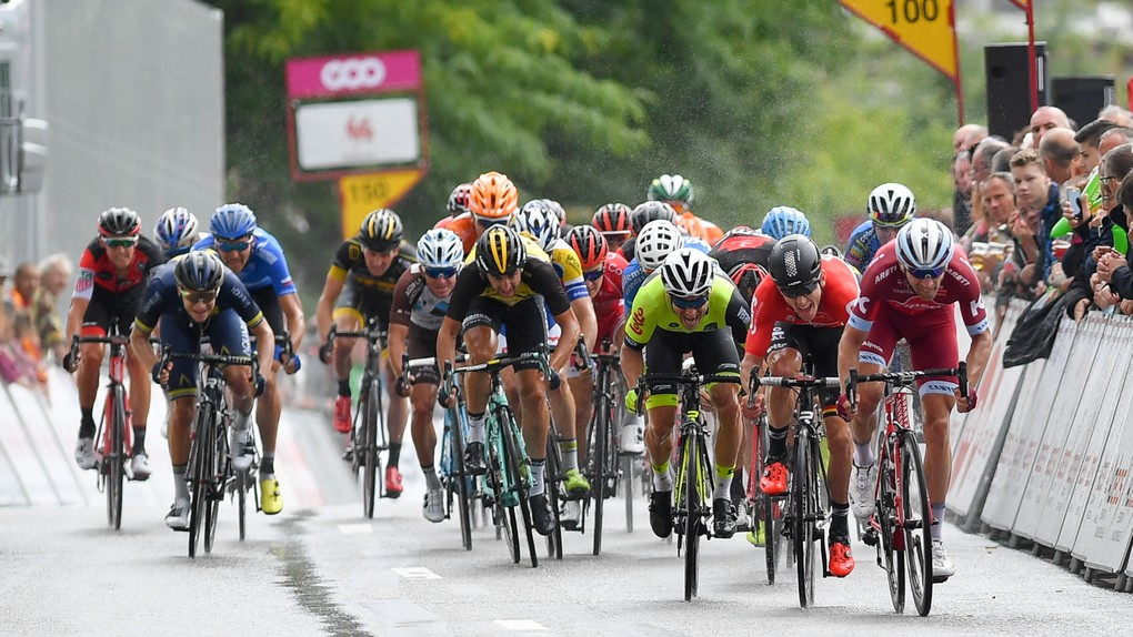 Danish Michael Morkov of Katusha-Alpecin, Belgian Jasper De Buyst of Lotto Soudal and French Justin Jules of WB Veranclassic Aqua Protect pictured during the sprint of the second stage of the 38th edition of the Tour de Wallonie (Ronde van Wallonie), 191,5km from Chaudfontaine to Seraing, Sunday 23 July 2017. This year's edition of the Tour de Wallonie takes plave from 22 to 26 July. BELGA PHOTO LUC CLAESSEN
