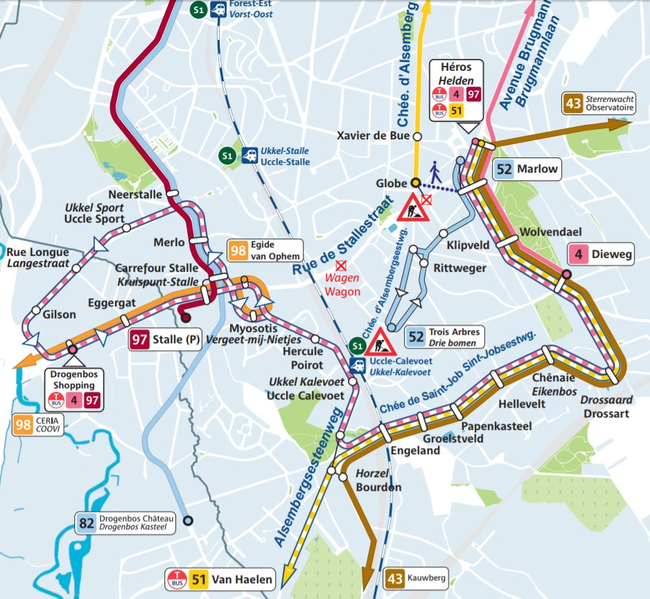 Plan STIB - Uccle - Brugmann - Alsemberg