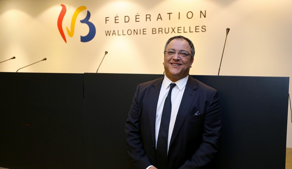 Federation Wallonia - Brussels Minister of Youth, Justice Houses and the Promotion of Brussels Rachid Madrane pictured after a press conference at the cabinet of Federation Wallonia - Brussels Minister Madrane in Brussels, Thursday 01 December 2016. Today searchings took place at Madrane's cabinet and other locations in Brussels and Liege in a case of suspected human trafficking involving adopted Congolese children. BELGA PHOTO NICOLAS MAETERLINCK