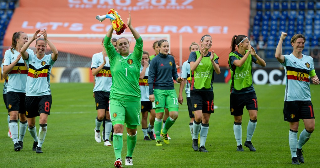 Belgian team celebrates after winning a soccer game between Belgian national women's soccer team Red Flames and Norway, the second game in group A in the group stage of the Women's European Championship 2017 in the Netherlands, Thursday 20 July 2017 in Breda, The Netherlands. BELGA PHOTO DAVID CATRY