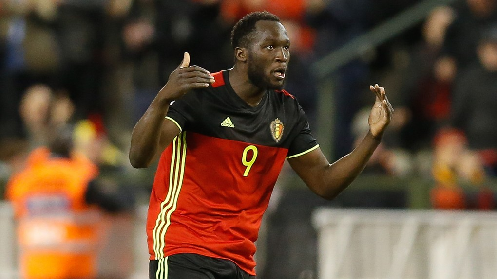 Belgium's Romelu Lukaku celebrates after scoring during a World Cup 2018 qualification game between Belgium's Red Devils and Greece, Saturday 25 March 2017, at the King Baudouin stadium in Brussels. BELGA PHOTO BRUNO FAHY