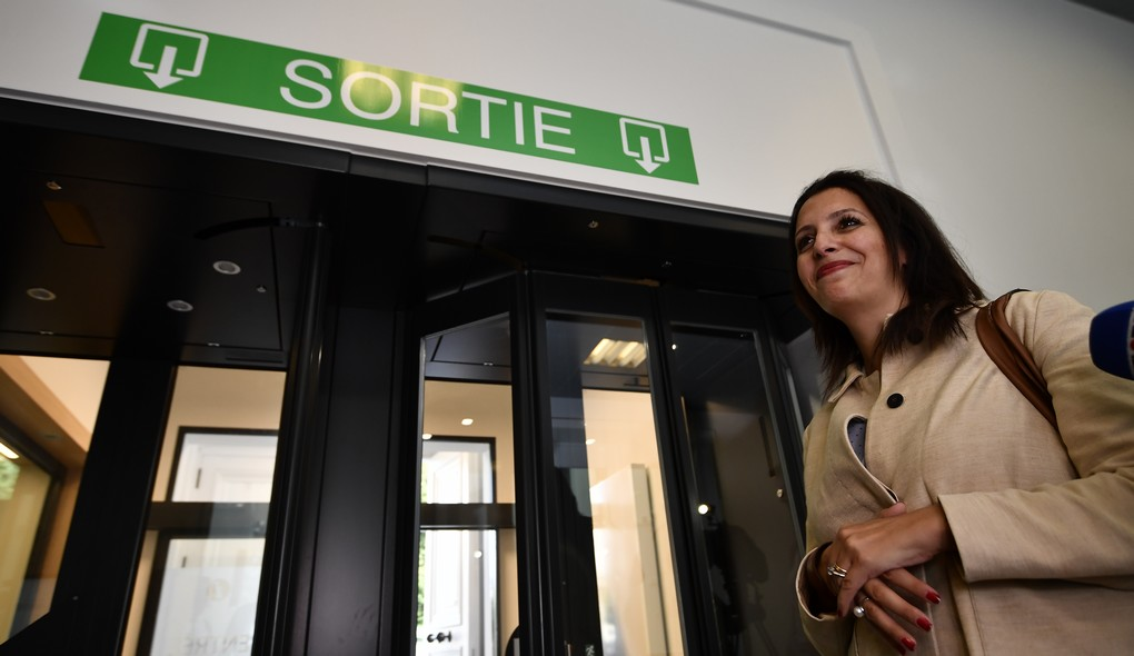 Ecolo co-chairwoman Zakia Khattabi leaves after a meeting of members of the French-speaking Christian democrat humanist cdH, French-speaking green party Ecolo and French-speaking liberals MR in Brussels, Thursday 13 July 2017. cdH invited other parties to find new majorities without socialists in regional governments. BELGA PHOTO ERIC LALMAND