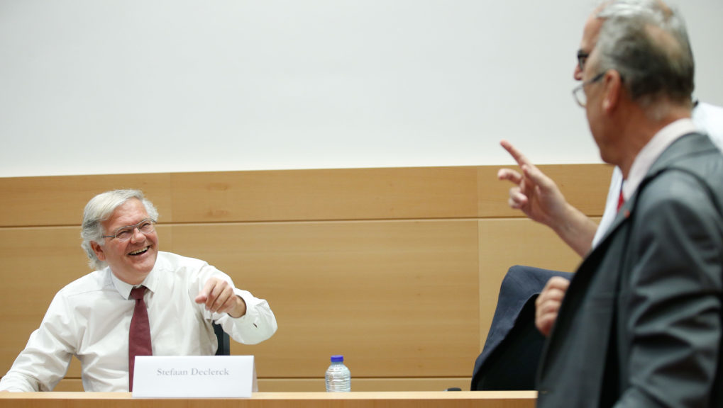 Former Justice Minister Stefaan De Clerck and sp.a's Dirk Van der Maelen pictured during a session of the parliamentary inquiry commission on the plea agreement, at the federal parliament, in Brussels, Friday 14 July 2017. This commission enquire the citconstances which led to the approbation and the application of the law of 14 April 2011 on the plea agreement. BELGA PHOTO BRUNO FAHY