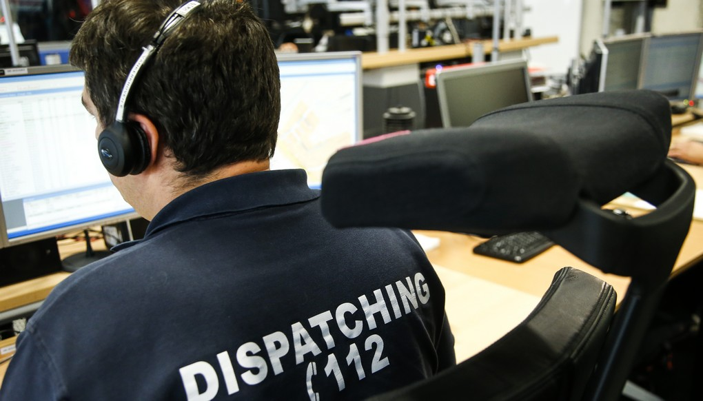 20150605 - LEUVEN, BELGIUM: Illustration picture shows the dispatching during a visit to the control room of the '112' emergency center, in Leuven, Friday 05 June 2015. BELGA PHOTO THIERRY ROGE