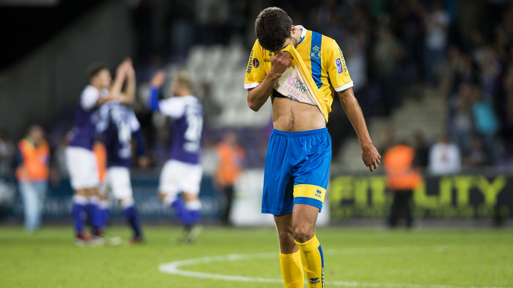 Union's Kenneth Houdret looks dejected after the Proximus League match of D1B between Beerschot Wilrijk and Union Saint-Gilloise, in Antwerp, Friday 04 August 2017, on the first day of the Belgian soccer championship, division 1B. BELGA PHOTO LAURIE DIEFFEMBACQ