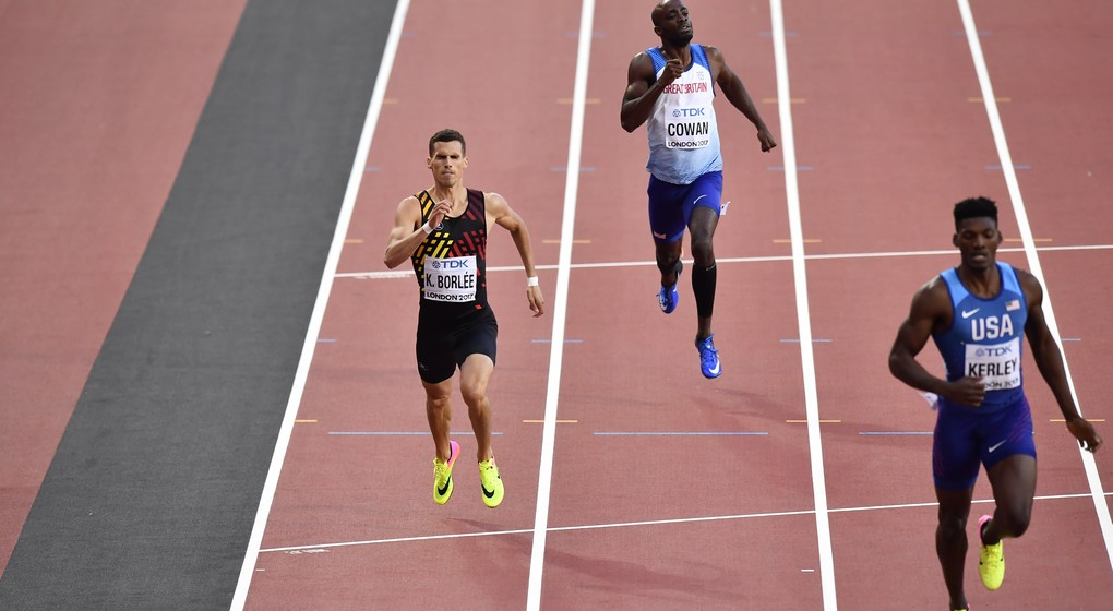 Belgian Kevin Borlee (L) pictured in action during the men 400m semi final at the IAAF World Championships 2017 in London, United Kingdom, Sunday 06 August 2017. The -finals Worlds are taking place from 4 to 13 August. BELGA PHOTO DIRK WAEM