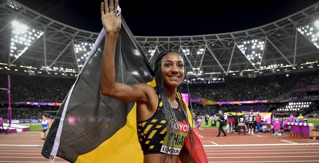 Belgian Nafissatou Nafi Thiam celebrates after the 800m competition of the women heptathlon event at the IAAF World Championships 2017 in London, United Kingdom, Sunday 06 August 2017. The Worlds are taking place from 4 to 13 August. BELGA PHOTO DIRK WAEM