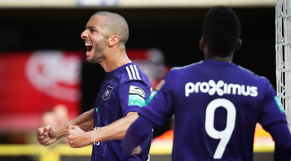 Anderlecht's Sofiane Hanni celebrates after scoring during the Jupiler Pro League match between RSC Anderlecht and KV Oostende, in Brussels, Sunday 06 August 2017, on the second day of the Jupiler Pro League, the Belgian soccer championship season 2017-2018. BELGA PHOTO VIRGINIE LEFOUR
