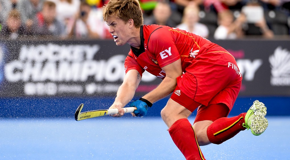 20150822 - LONDON, UNITED KINGDOM: Belgium's Tom Boon pictured in action during a hockey game between France and Belgium's Red Lions at the men's EuroHockey Championships 2015 during the Group stage of group B, Saturday 22 August 2015, in London, United Kingdom. BELGA PHOTO DIRK WAEM