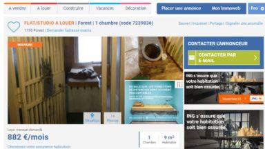 Une cellule de la prison de Saint-Gilles à louer sur Immoweb pour 882 €